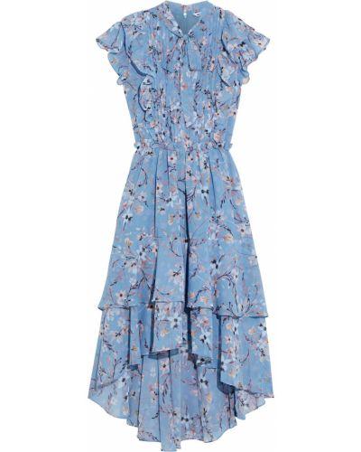 Шифоновое синее платье миди с подкладкой Walter Baker