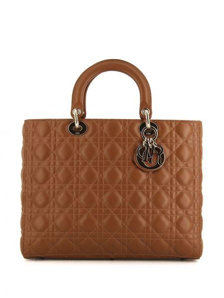 Brązowa torba na ramię skórzana Christian Dior