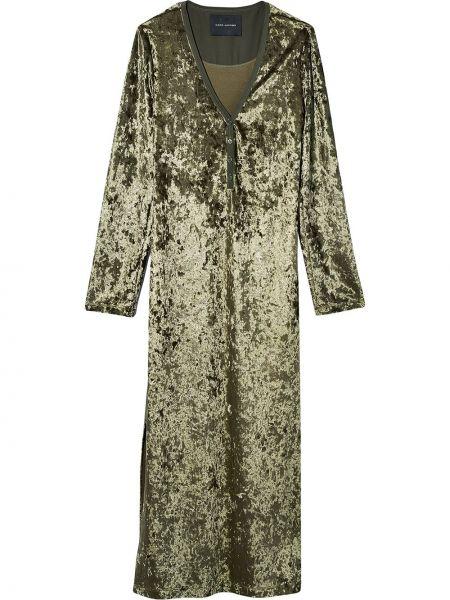 Бархатное платье миди - зеленое Marc Jacobs