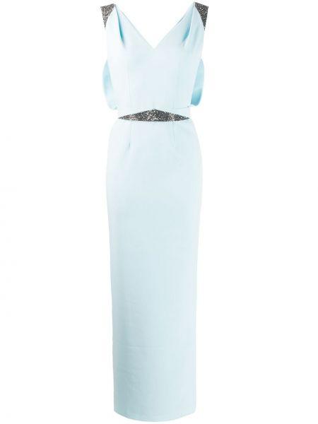 С рукавами синее платье макси на молнии Safiyaa