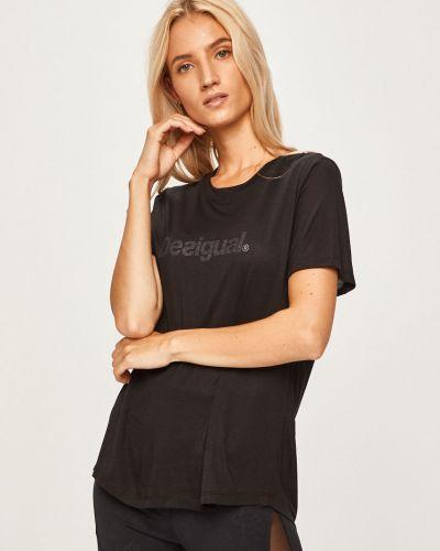 Футбольная черная спортивная футболка с декольте Desigual Sport