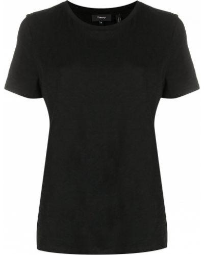 Льняная черная рубашка с короткими рукавами Theory