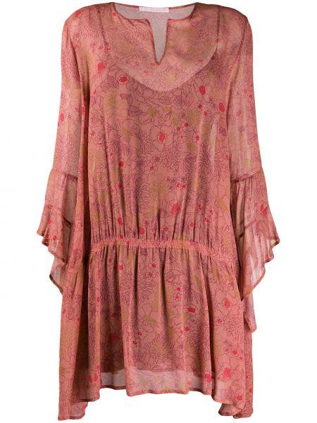 Розовое платье макси прозрачное на молнии Kristina Ti