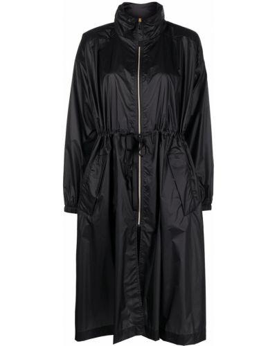 С кулиской черное длинное пальто с карманами Parajumpers