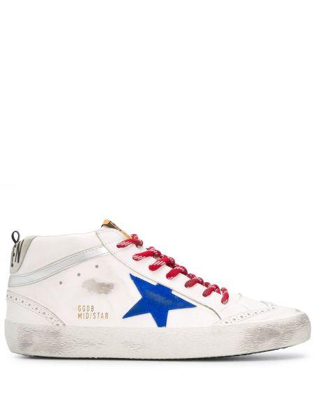Biały ażurowy włókienniczy sneakersy z łatami Golden Goose