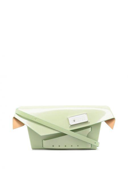 Зеленый кожаный сумка на плечо с карманами Maison Margiela