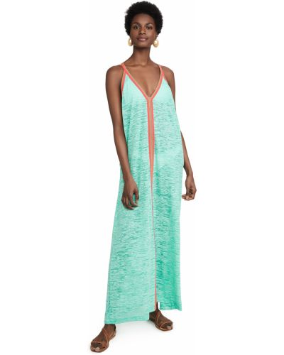Трикотажное платье макси мятное с вышивкой Pitusa