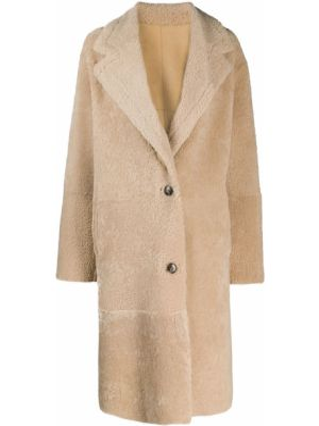 Однобортное кожаное пальто двустороннее на пуговицах из овчины Iro
