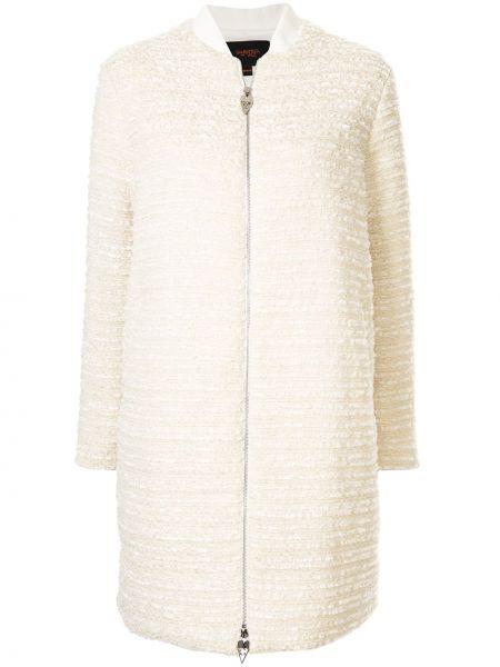Шерстяная белая длинная куртка на молнии Giambattista Valli