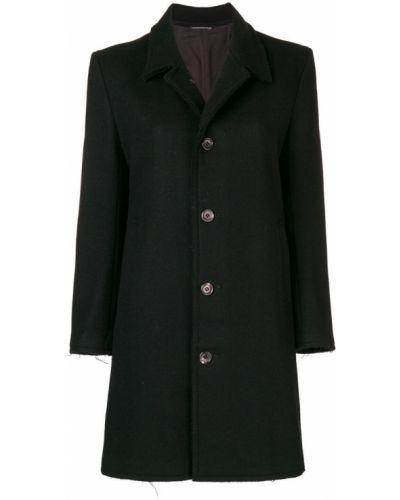 Черное пальто классическое с капюшоном с воротником Yohji Yamamoto Pre-owned