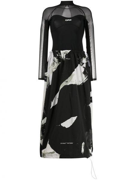 Платье миди с абстрактным принтом с рукавами Off-white