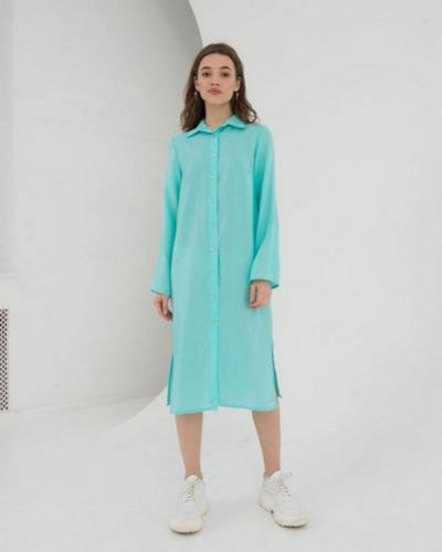 Повседневное зеленое льняное платье Vovk
