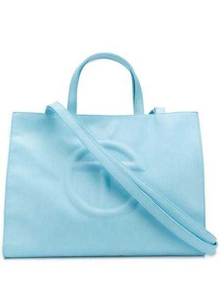 Niebieska torba na ramię skórzana Telfar