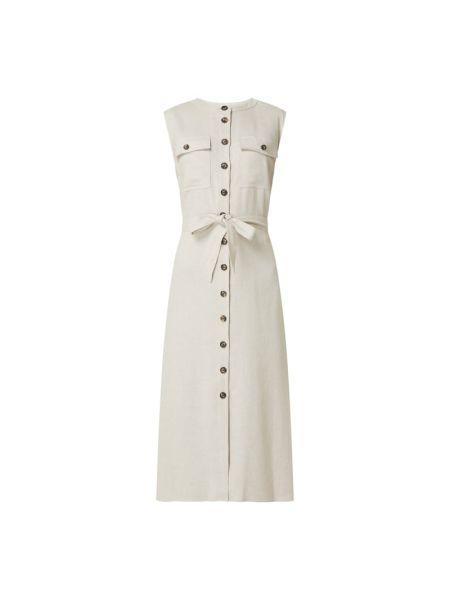 Sukienka rozkloszowana z wiązaniami - beżowa Set