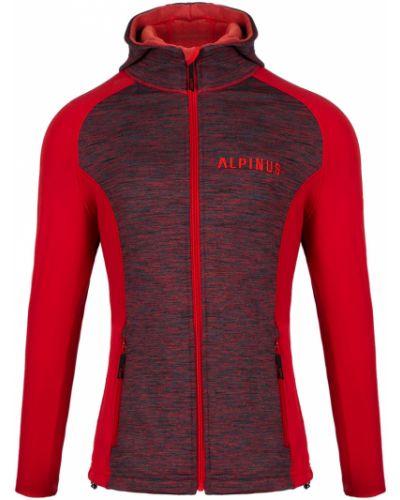 Czerwona bluza z kapturem polarowa Alpinus