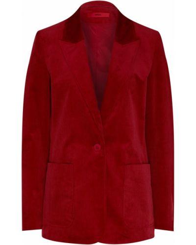 Приталенный однобортный бархатный пиджак с карманами Hugo Boss