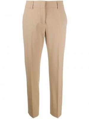 Beżowe spodnie wełniane z paskiem Piazza Sempione