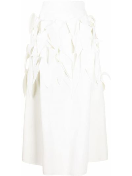 Biała spódnica midi z wysokim stanem Maticevski