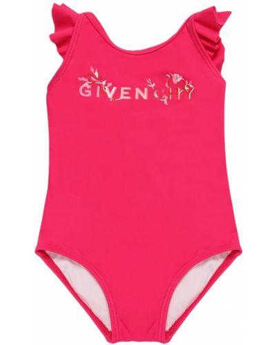 Розовый купальник с оборками на бретелях Givenchy