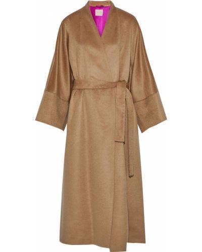 Коричневое шерстяное пальто с поясом Roksanda