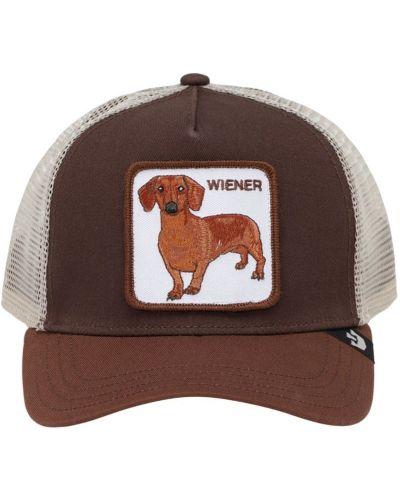 Z paskiem brązowy kapelusz z łatami Goorin Bros