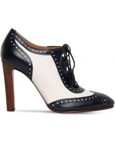 Туфли на каблуке кожаные ажурные Ralph Lauren