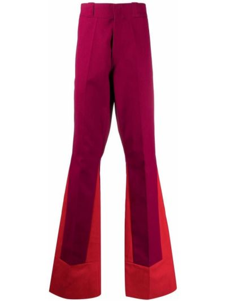 Czerwone spodnie z paskiem bawełniane Raf Simons