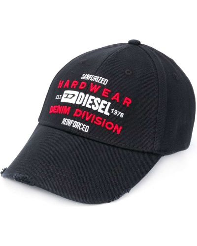Czarna czapka z haftem bawełniana Diesel