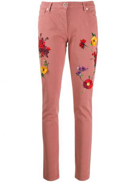Розовые джинсы-скинни с вышивкой с карманами Blumarine