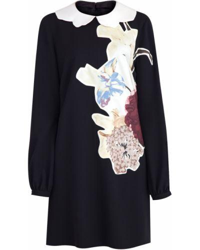 Платье с цветочным принтом с длинными рукавами Valentino
