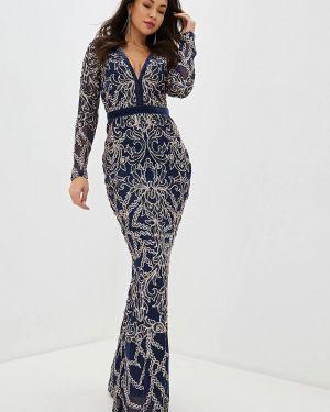 Вечернее платье осеннее синее Goddiva