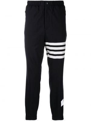Brązowe spodnie w paski wełniane Thom Browne