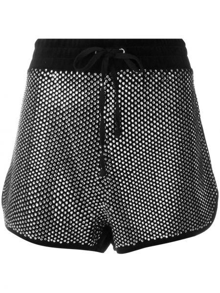 Велюровые черные спортивные шорты на шнурках Juicy Couture