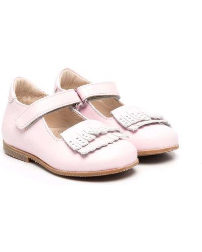 Różowe balerinki skórzane Gallucci Kids