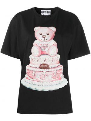 Хлопковая черная рубашка с коротким рукавом с короткими рукавами с круглым вырезом Moschino