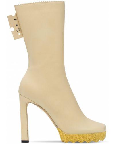 Beżowy buty obcasy plac na pięcie prążkowany Off-white
