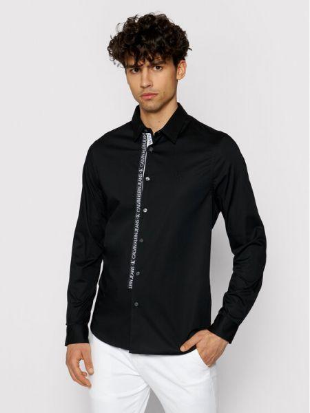 Czarna koszula slim Calvin Klein Jeans
