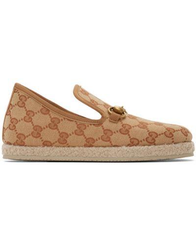 Brązowy loafers prążkowany okrągły okrągły nos Gucci