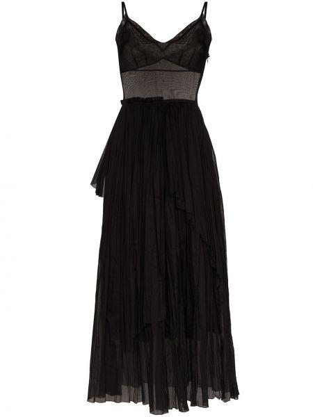 Хлопковое черное платье макси Vika Gazinskaya