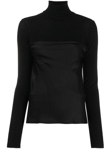 Черная прямая блузка с длинным рукавом с воротником из вискозы Opening Ceremony