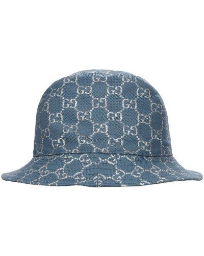 Wełniany niebieski kapelusz prążkowany Gucci