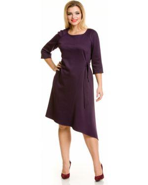 Платье с поясом трапеция с вырезом Novita