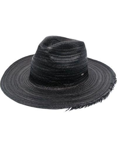 Черные соломенные шляпа с бахромой Saint Laurent