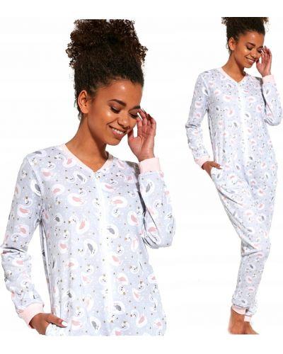 Bawełna szary piżama długo kombinezon Cornette