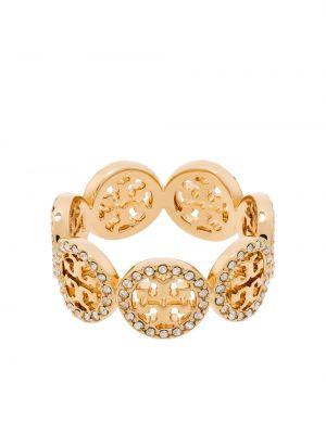 Золотистое кольцо золотое позолоченное Tory Burch