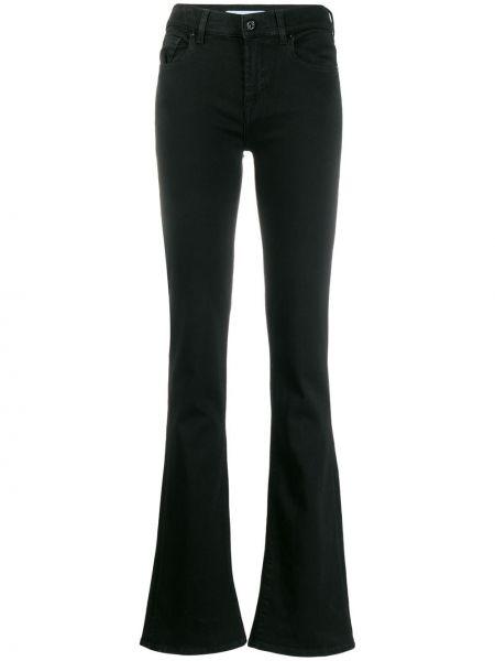 Расклешенные черные джинсы с поясом 7 For All Mankind