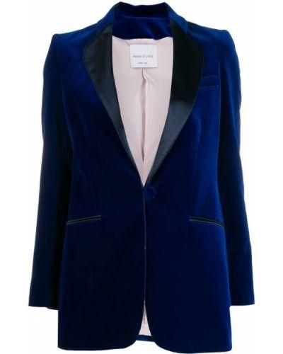 Синий удлиненный пиджак с карманами с воротником Hebe Studio