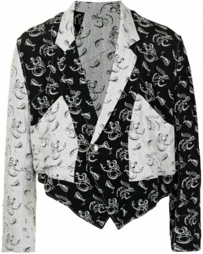 Czarna kurtka z printem z długimi rękawami Sulvam