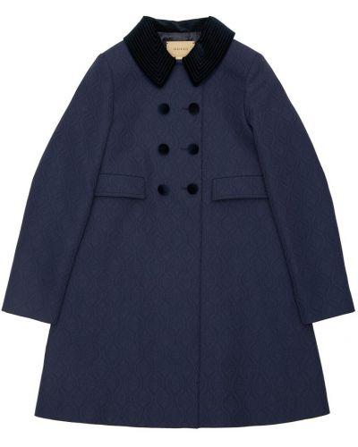 Wełniany płaszcz z kieszeniami Gucci