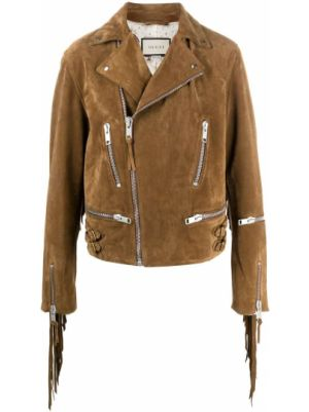 Кожаная куртка байкерская с бахромой на молнии Gucci